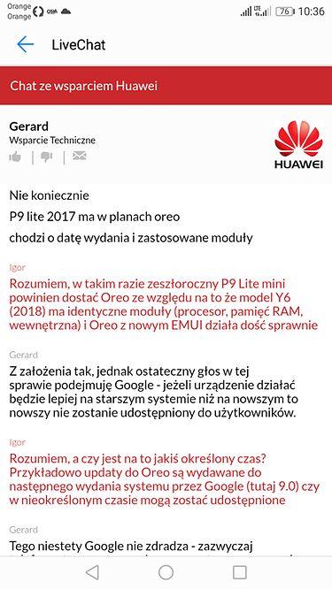 Fragment rozmowy ze Wsparciem Technicznym Huawei, źródło: android.com.pl.