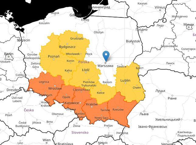 Mapa zagrożeń pogodowych nad Polską (1 września)