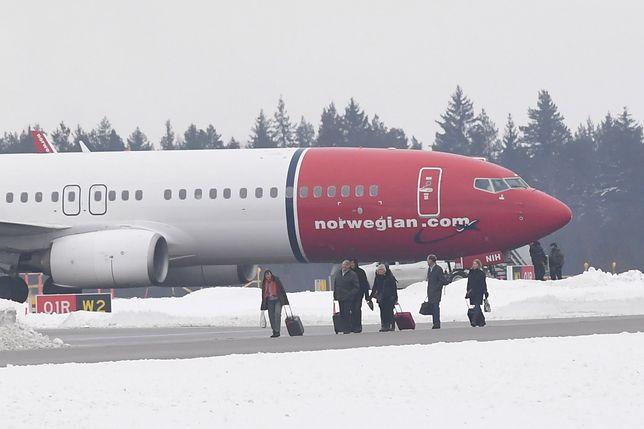 Ewakuowany samolot norweskich linii lotniczych