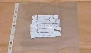 Kartka, z którą policjant dokonał napadu