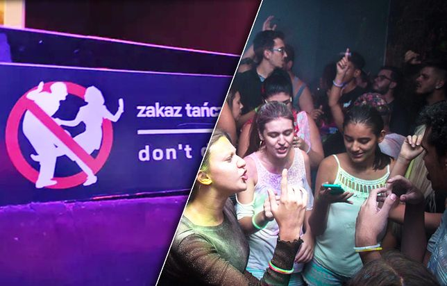 """Tabliczka """"Zakaz tańczenia"""" w sopockiej dyskotece"""