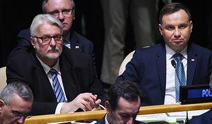 Szef MSZ Witold Waszczykowski i prezydent Andrzej Duda podczas 72. sesji Zgromadzenia Ogólnego ONZ.