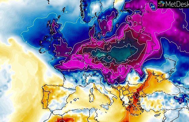 Pogoda. Anomalie temperatur prognozowane na 18 lutego przekraczają w Polsce 20 stopni, poniżej średniej z 30 lat.