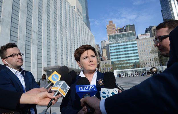 Premier Beata Szydło podczas spotkania z dziennikarzami w Nowym Jorku
