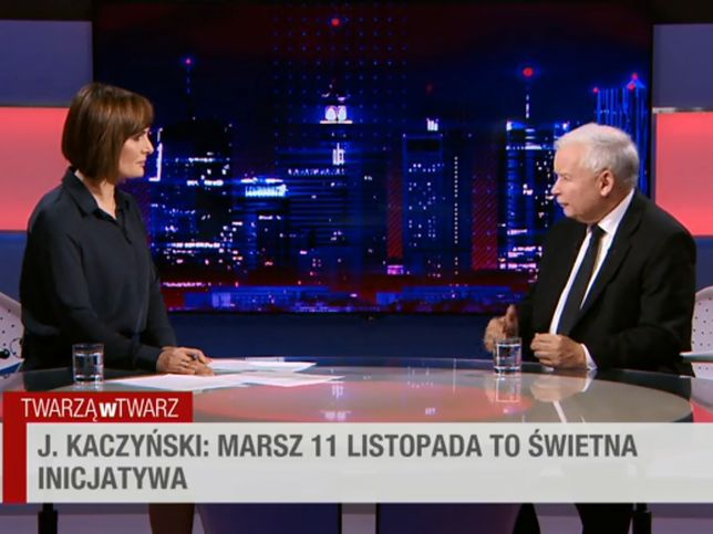 Dorota Gawryluk przeprowadza wywiad z Jarosławem Kaczyńskim