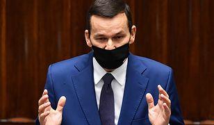 Premier Mateusz Morawiecki w Sejmie. Szef rządu przedstawił informacje na temat stanu przygotowania państwa na rosnącą falę zakażeń koronawirusem SARS-CoV-2 i wywoływanej nim choroby COVID-19.