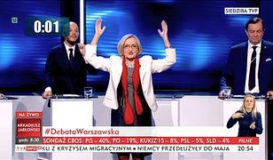 Krystyna Krzekotowska podczas wystąpienia telewizyjnego w debacie kandydatów na prezydenta Warszawy