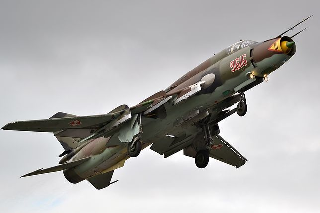 Su-22 w polskich barwach. W 2021 roku mija 37 lat służby tego modelu w polskim lotnictwie