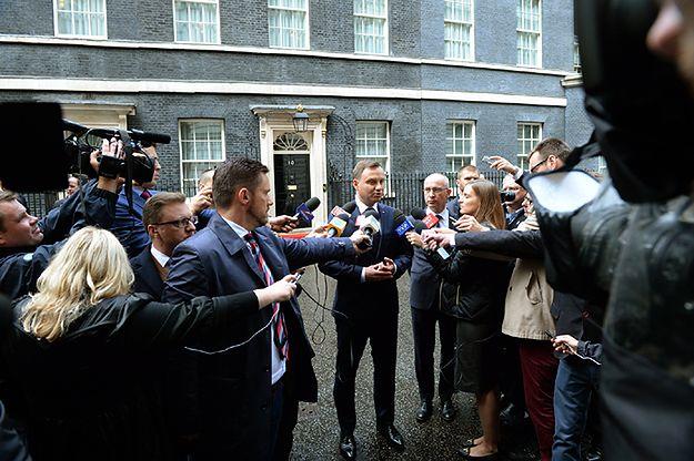Prezydent Andrzej Duda rozmawia z mediami w Londynie