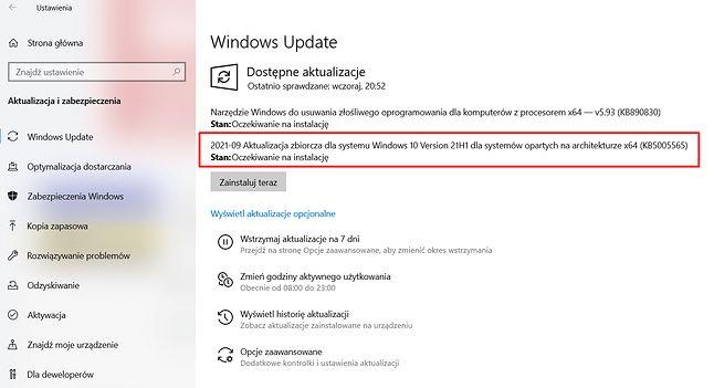 Aktualizacja KB5005565 w Windows Update