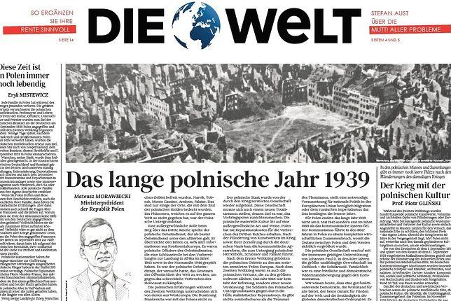 """W weekendowych wydaniach m.in. """"Die Welt"""" ukażą się reprinty okładek z 1939 roku"""