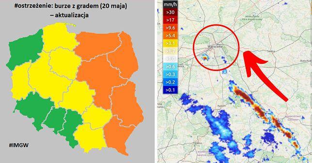 Ostrzeżenie RCB dla pięciu województw i komórki burzowe sunące w stronę Warszawy