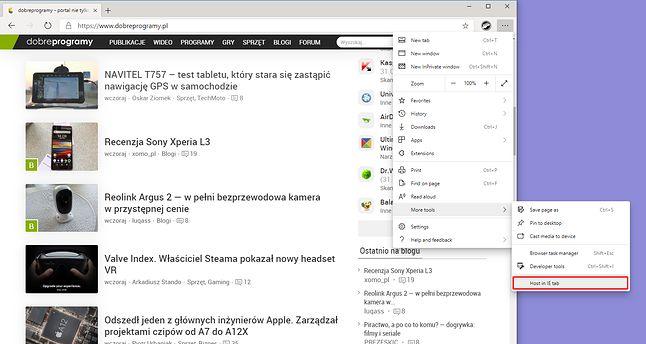 Microsoft Edge i tryb zgodności z Internet Explorerem.