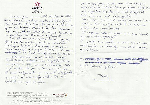 List, który pozostawił Thierry Costa