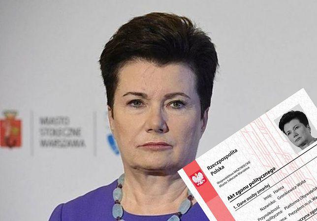 """Narodowcy wystawili Hannie Gronkiewicz-Waltz... """"akt zgonu politycznego"""""""