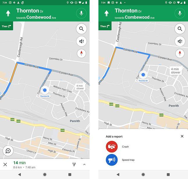Nowa funkcja raportowania w Mapach Google. Źródło: androidpolice.com
