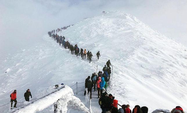 Turyści wchodzą na Śnieżkę 10 stycznia 2021 roku