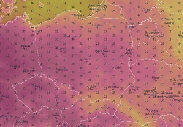 Pogoda. Na zachodzie Polski temperatura może dojść nawet do 34 stopni C.