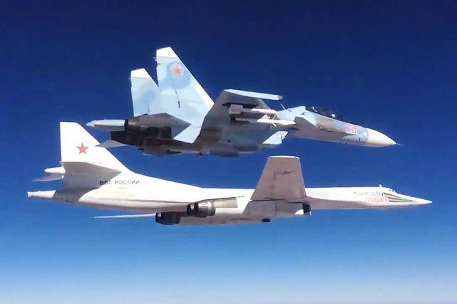 Tu-160 i Su-35 podczas atakowania celów ISIS w Syrii w 2015