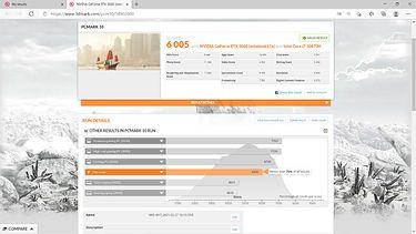 wynik testu z kartą GeForce RTX 3060 mobile