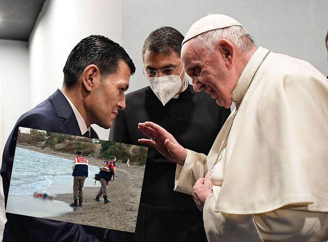 Irak. Papież Franciszek wsparł mężczyznę, który stracił syna. Zwłoki dziecka morze wyrzuciło na brzeg