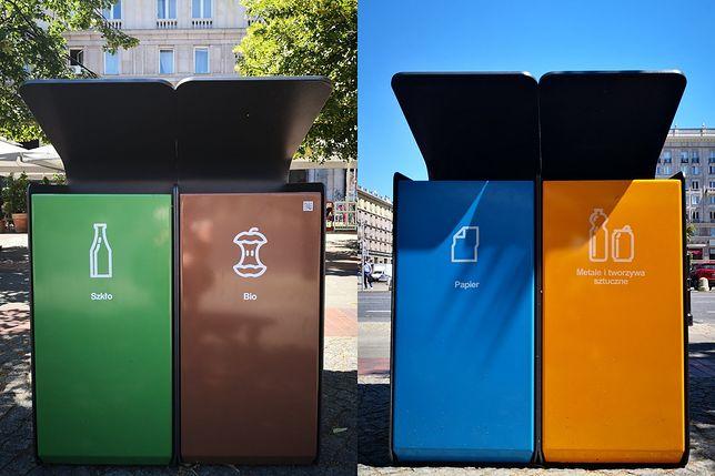 Warszawa. Kosze uliczne do selektywnej zbiórki odpadów