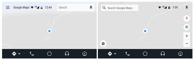 Stary (z lewej) i nowy (z prawej) widok mapy bez zaplanowanej trasy, źródło: Android Police.