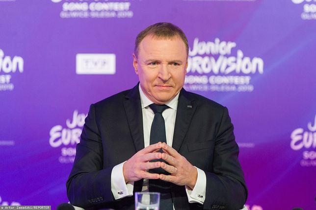 Prezes TVP Jacek Kurski podczas konferencji prasowej (zdj. arch.)