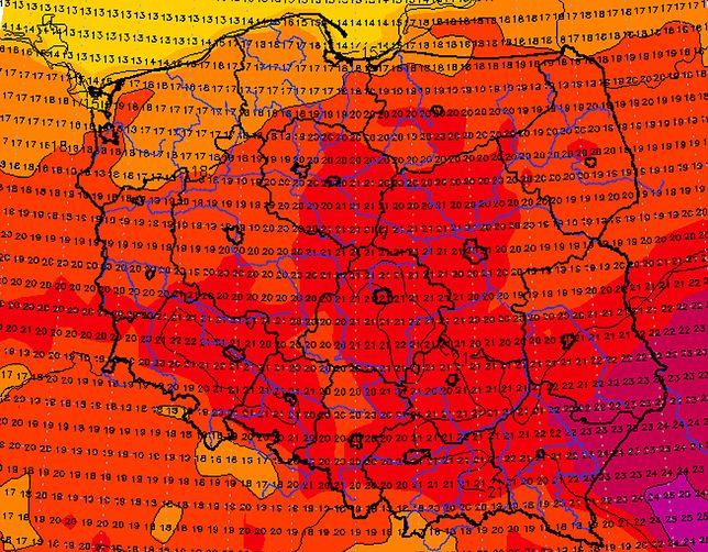 Pogoda. Babie lato nadal będzie trwać. Przez kilka dni z rzędu. Na fot. temperatury prognozowane na 21 października.