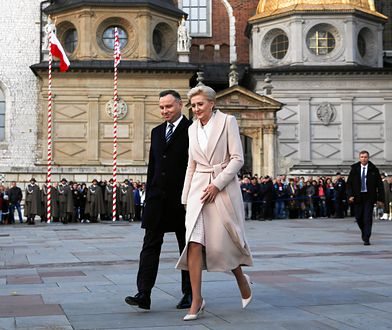 Prezydent Andrzej Duda i Agata Kornhauser-Duda podczas uroczystości w Krakowie