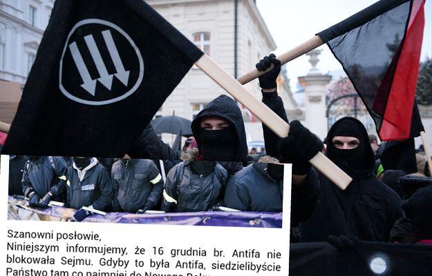 Oświadczenie Antify w sprawie uczestniczenia w protestach pod sejmem podbija internet