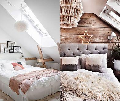 Sypialnia w stylu skandynawskim na poddaszu to wnętrze, które urzeka prostotą