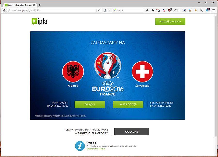 Uwaga na pakiet EURO 2016 w telewizji ipla!  - Zrzut okna Firefoxa