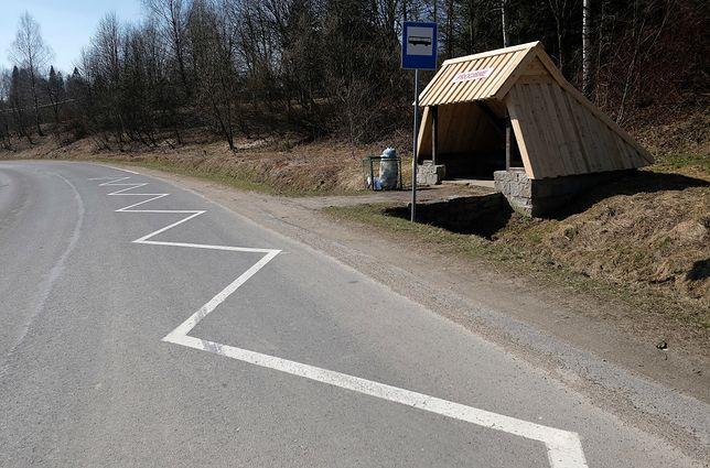 Przystanek autobusowy w Bieszczadach.