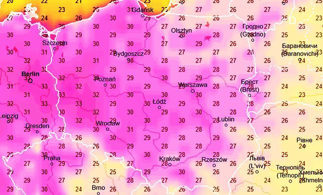 W niedzielę na termometrach znów zobaczymy ponad 30 st. C, a na zachodzie nawet trzy stopnie więcej