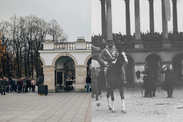 Grób Nieznanego Żołnierza obecnie (po lewej) i w 1926 roku (po prawej)