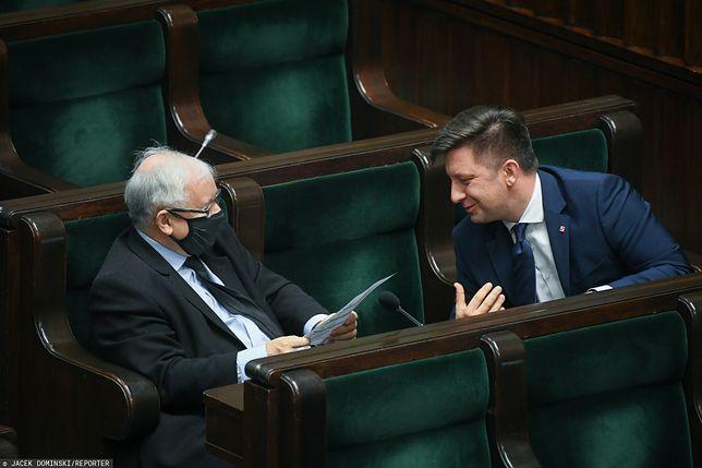 Jarosław Kaczyński i Michał Dworczyk w Sejmie