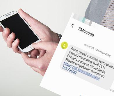 SMS wysyłany przez oszustów.