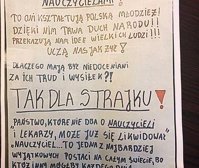 Plakat, popierający strajk nauczycieli
