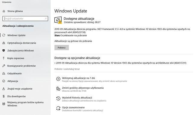 Aktualizacja KB4517211 w ustawieniach Windows Update w Windows 10.
