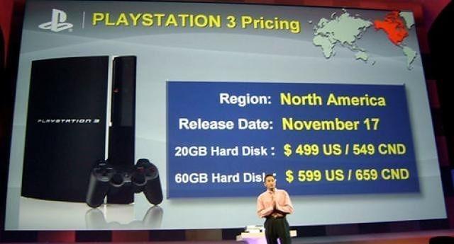 Ken Kutaragi i jego PlayStation 3 i skwitowana wymownym milczeniem obecnej na sali publiczności cena, fot. Kadr z YouTube