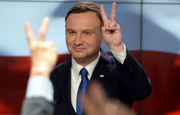 Kandydat PiS Andrzej Duda podczas wieczoru wyborczego