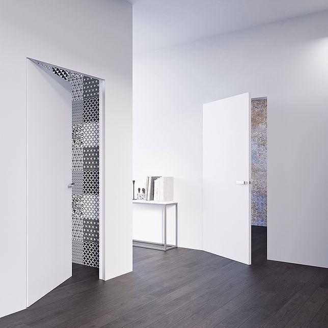 Niewidoczna ościeżnica Sara Pro idealnie komponuje się ze specjalnie dla niej przygotowanymi drzwiami Norma Decor 1, które można samodzielnie pomalować jak klasyczną ścianę