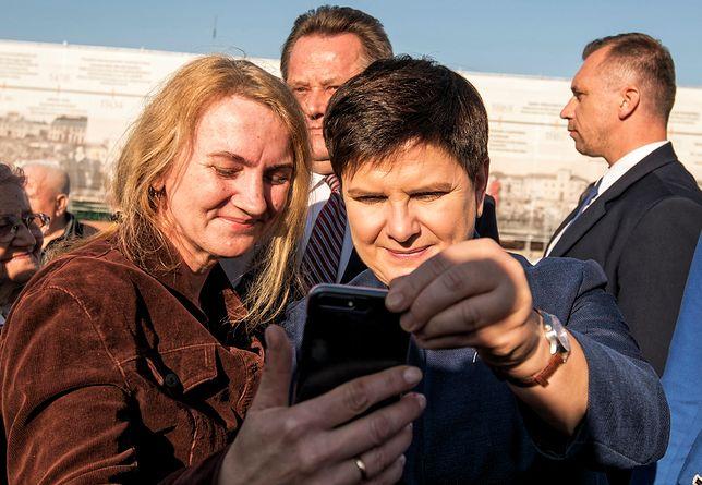 Wicepremier Beata Szydło na spotkaniu w Łomży podczas kampanii przed wyborami samorządowymi