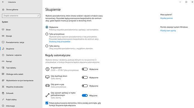 Ustawienia trybu skupienia w Windows 10 19H1.