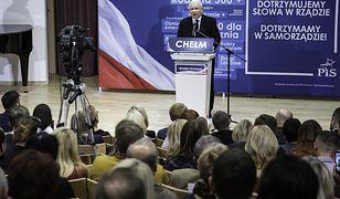 Jarosław Kaczyński na spotkaniu wyborczym PiS w Chełmie