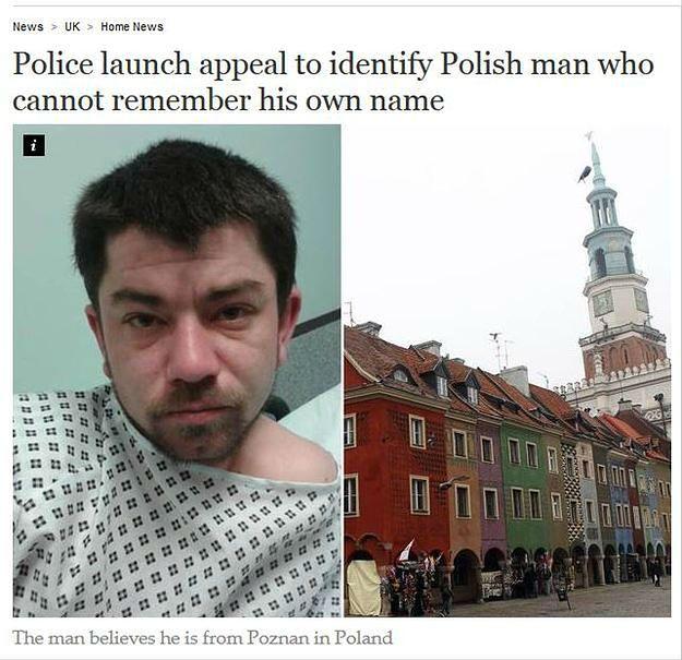 Mówił, że nie wie kim jest ani jak znalazł się w Londynie. Policja odnalazła rodzinę Polaka