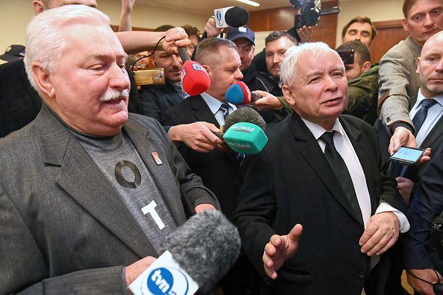 Lech Wałęsa i Jarosław Kaczyński przed sala rozpraw Sądu Okręgowego w Gdańsku