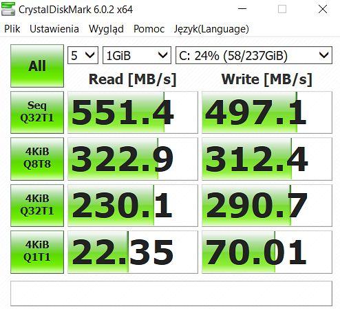 Osiągnięcia SSD w teście CrystalDiskMark.