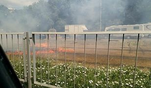 Pożar na torach tramwajowych przy ul. Puławskiej